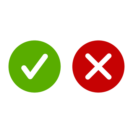 Checkmark and cross sign icons on white background. Vector
