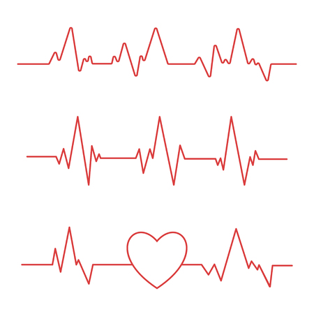Heartbeat line isolated on white background. Heart Cardiogram icon. Vector illustration. Vettoriali