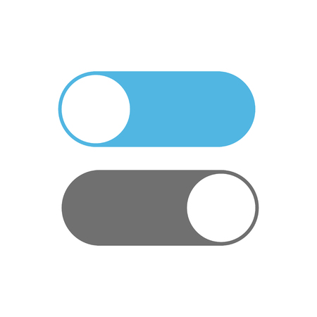 On and off switch toggle. Toggle icons on white background. Vector illustration.