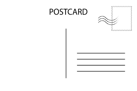 Postal card for travel. Blank airmail template. Vector