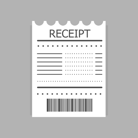 Receipt icon. Paper receipt about payment. Invoice icon. Vector illustration.