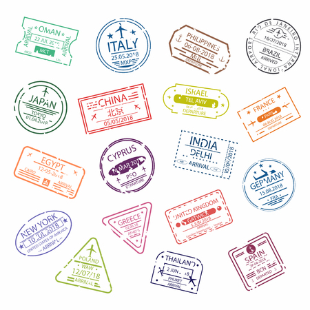 Passport stamp signs for entry to the different countries.