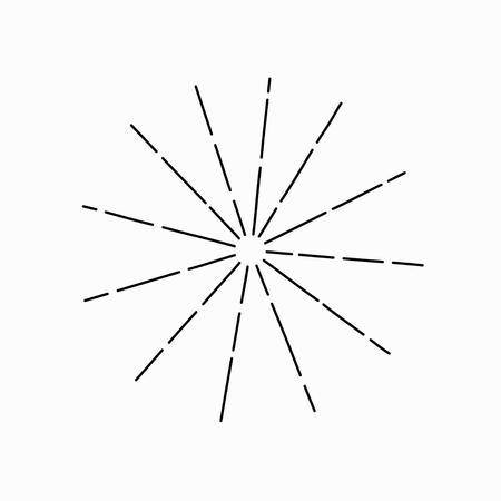 Sunburst de vecteur vintage. Rayons de soleil abstraits. Illustration dessinée à la main noire sur fond blanc. Vecteur