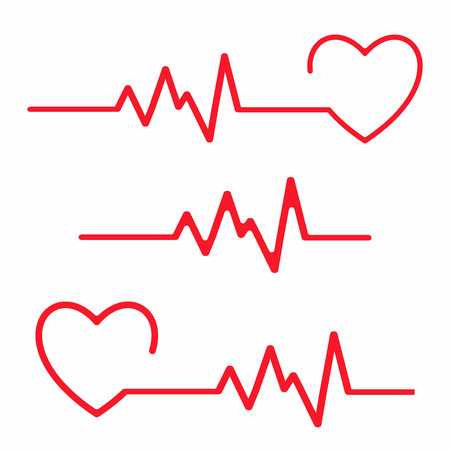 Set of cardiogram design elements. Heartbeat line isolated on white background. Vector
