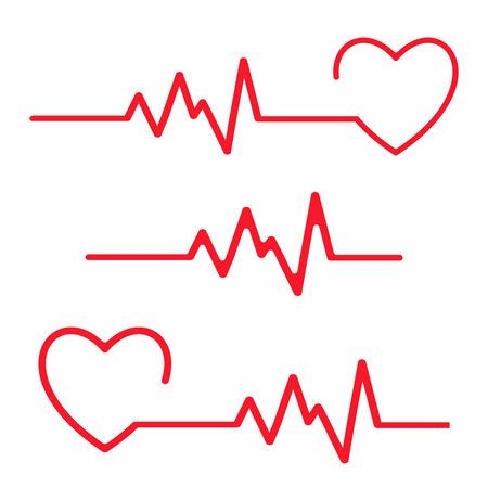 Conjunto de elementos de diseño cardiograma. Línea de latidos del corazón aislada sobre fondo blanco. Vector Ilustración de vector