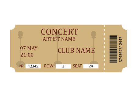 Concert ticket. Retro ticket template isolated on white background. Vector