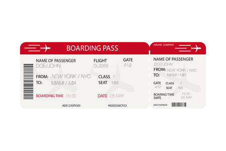 Airline ticket. Boarding pass with airplane silhouette on white background. Vector illustration. Vettoriali