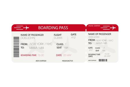 Biglietto aereo. Passaggio di imbarco con la siluetta dell'aeroplano su fondo bianco. Illustrazione vettoriale