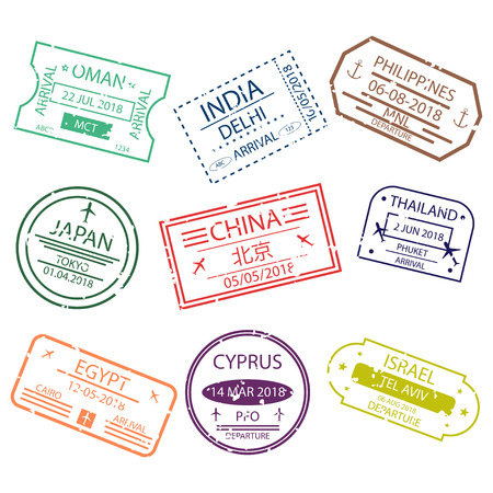 Passport stamp or visa signs for entry  to the different countries Asia.  International Airport  symbols. Vector Illustration