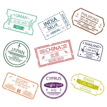 Timbre de passeport ou panneaux de visa pour l'entrée dans les différents pays d'Asie. Symboles de l'aéroport international. Vecteur