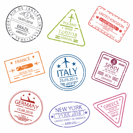 Passport stamp or  signs for entry to the different countries Europe. International Airport symbols.  Vector illustration.