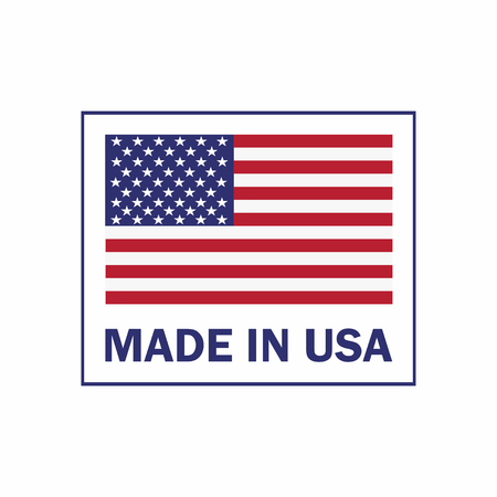 Made in the USA label with American flag. American patriotic icon.