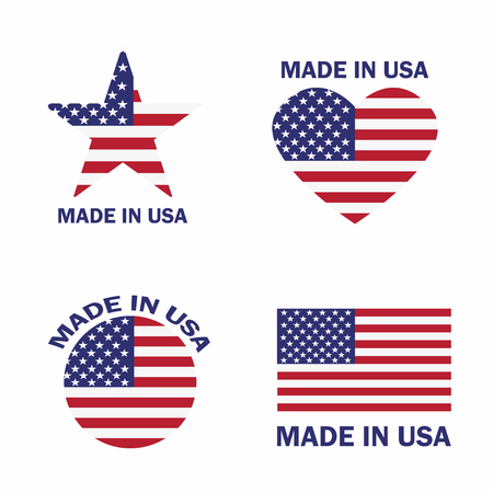 conjunto de hecho en la etiqueta de estados unidos con ilustración de vector de bandera estadounidense Ilustración de vector