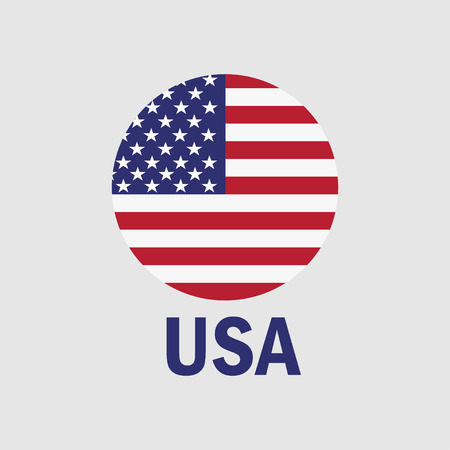 USA flag in a circle. American patriotic icon. Vector