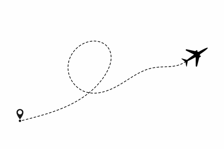 Airplane path in dotted line shape. Airplane flying in the white background.