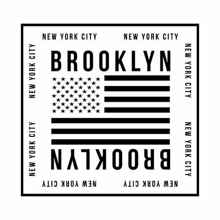 New York City, Brooklyn typography for t-shirt print. American flag in black color. T-shirt graphics. Vector