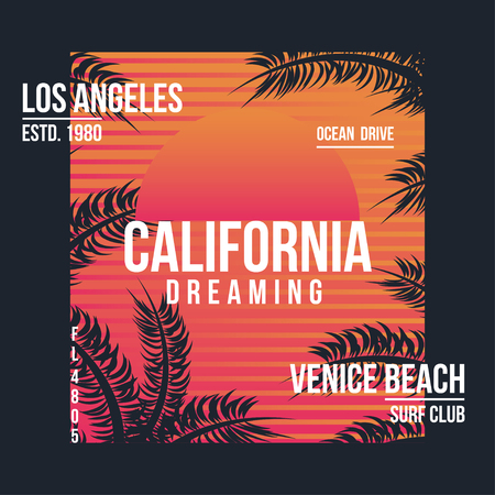 Los Angeles, California typography for t-shirt. Summer design. T-shirt graphic with tropic palms. Vector Ilustração