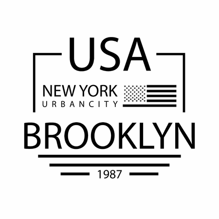 New York City, Brooklyn typography for t-shirt print. USA flag. T-shirt graphics. Vector
