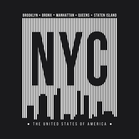New York City for t-shirt print. New York skyline silhouette. T-shirt graphics. Vector