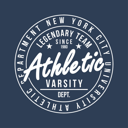 New York typography for t-shirt print. Athletic graphic for t-shirt. Varsity style. Vector