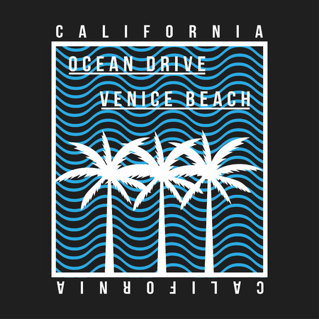 California, Venice beach typography for t-shirt. Summer design. T-shirt graphic with tropic palms and wave. Vector Ilustração