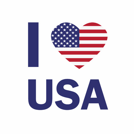 I love USA sticker slogan. USA flag in the form of a heart. Vector