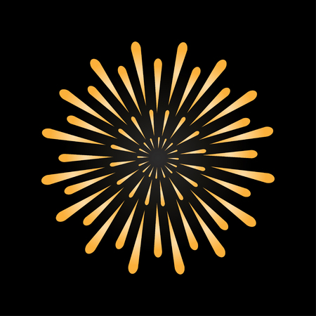 Firework in gold color. Symbol of holiday. Bright decoration for any holidays. Vector Ilustração