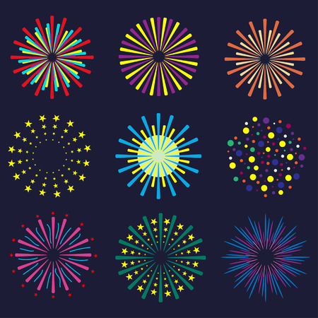 Set of bright and colorful fireworks. Festival fireworks on dark background. Vector