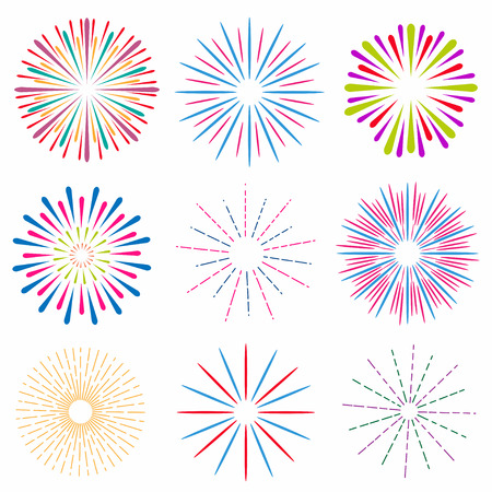 Set of bright and colorful fireworks. Party and holiday event firework. Vector Ilustração