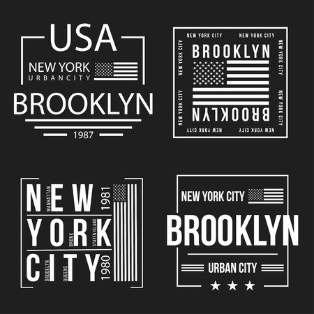 Set of New York City, Brooklyn typography for t-shirt print. American flag in white color. T-shirt graphics. Vector Ilustração