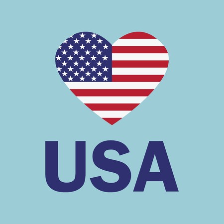 I love USA slogan. USA flag in the form of a heart. Vector