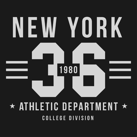 New York, Athletic sport typography for t-shirt print. T-shirt graphics. Vector Ilustração