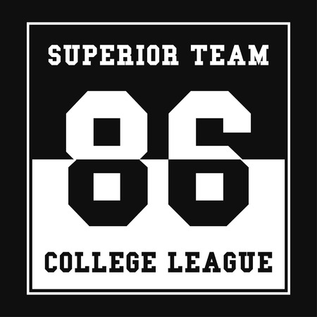 Sports, College league t-shirt graphics. Number sport typography. Print, t-shirt graphic. Vector