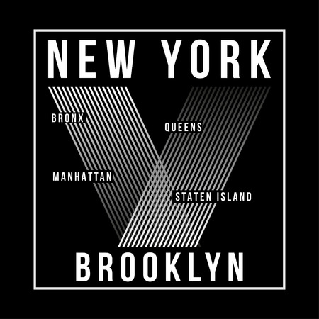 New York City, Brooklyn typography for t-shirt print. Silhouette of the city. T-shirt graphics. Vector