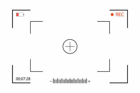 Camera viewfinder with shooting setting on screen. Viewfinder camera recording on white background. Vector