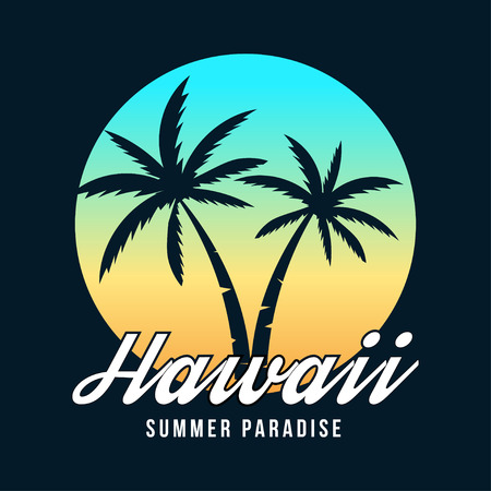 Hawaii typography for t-shirt print. Hawaii sunset, emblem with palm trees. T-shirt graphics. Vector