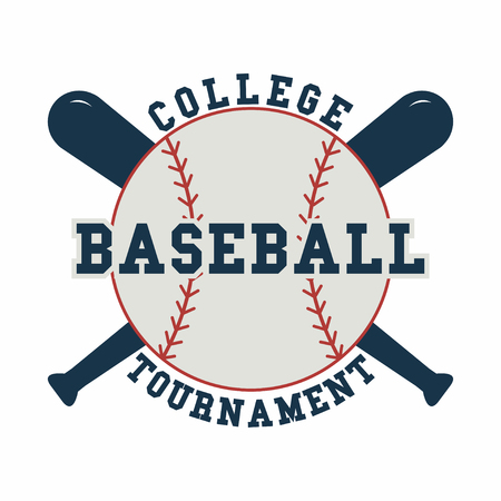 Baseball ball. Sport emblem. Sport game logo for tournament. Vector Illustration