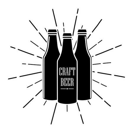Bottle of craft beer. Alcohol drink symbol. Emblem for bar, pub and other with bottles silhouettes and sunburst. Vector Vectores