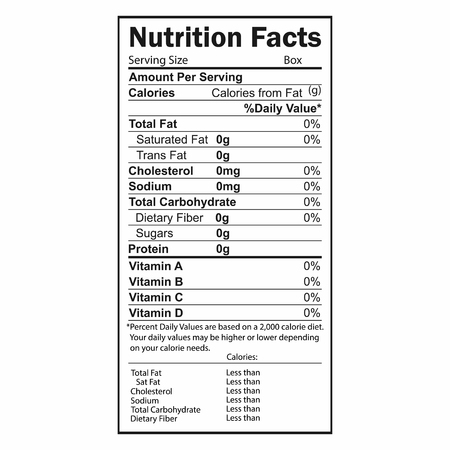 Nutrition Facts information. Information about the amount of fats, calories, carbohydrates. Vector