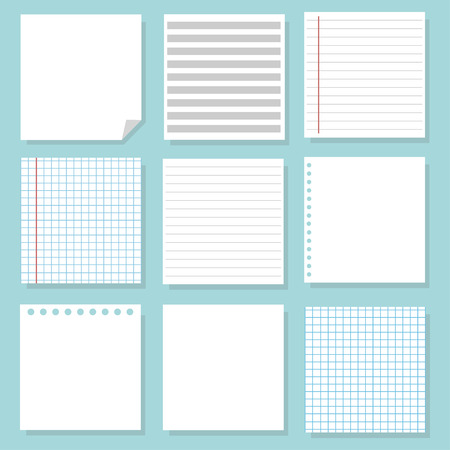 Set of different notebook paper. Set of white paper. School sheets. Vector Illustration