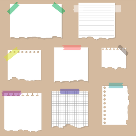 Paper torn page notes. Papers of different size glued to wall with tape. Vector