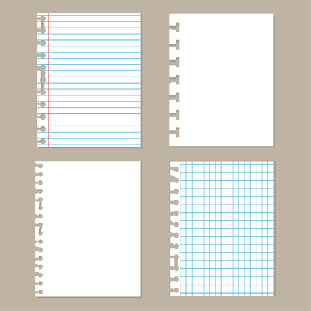 Pieces of torn paper.Set of different notebook paper. School sheets. Vector