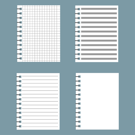 Set of notebook paper with lines and grid. The open notepad. Vector