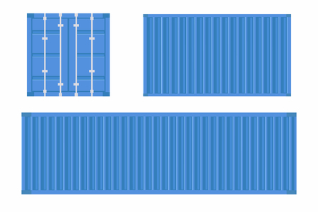 Set of cargo container. Shipping container for logistics and transportation. Vector