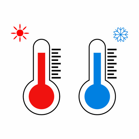 Thermometer icon. Thermometers measuring heat and cold. Vector