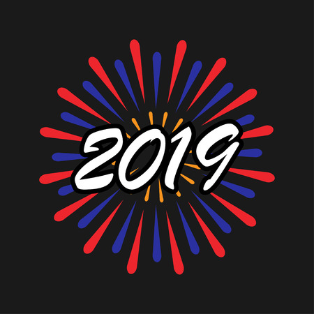 New Year 2019. Happy New Year. Holiday icon. Vector Illustration