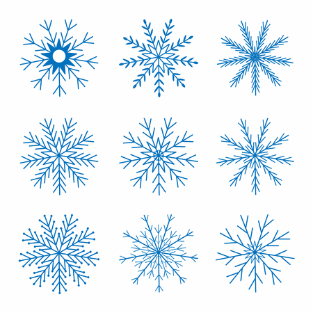 Snowflakes. Christmas and New Year decoration. Winter theme. Vector Illustration