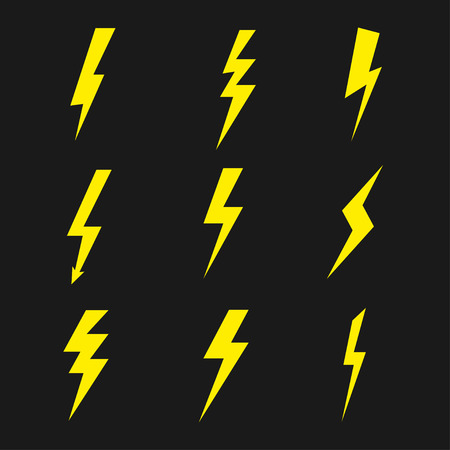 Set of lightning. Thunder or storm symbol. Vector Illustration