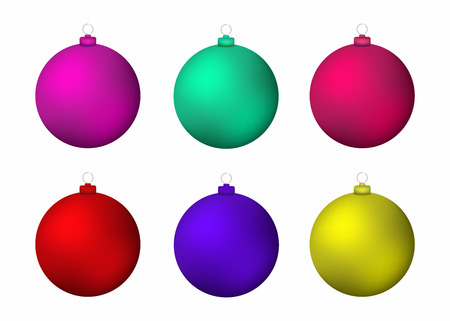 Set of realistic Christmas balls. Colorful New Year decoration. Vector