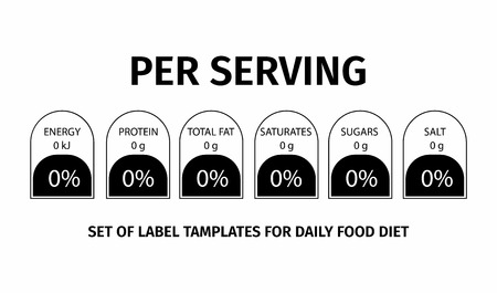 Nutrition Facts information. Template for information about the amount of fats, calories, carbohydrates. Vector